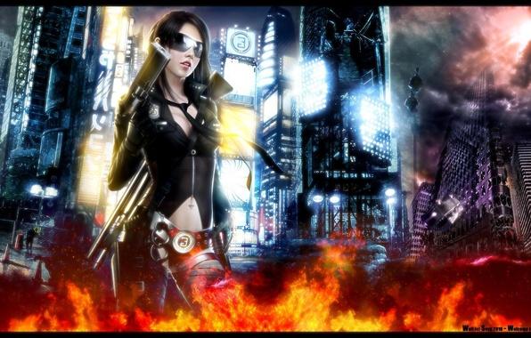 Картинка девушка, город, оружие, огонь