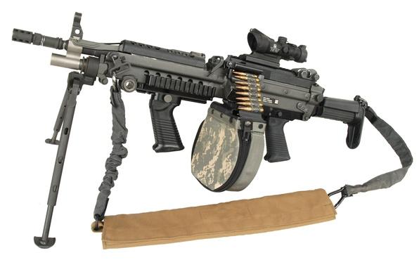 Картинка military, weapon, ammo, machine gun, custom gun, circular charger, improved m249, bipod, high firepower, m249, …