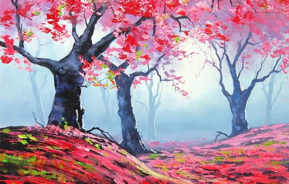 Картинка осень, листья, деревья, природа, арт, красные, artsaus