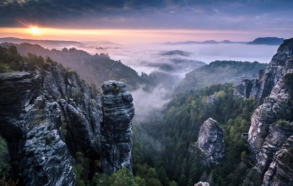 Картинка Clouds, Landscape, Sunrise, Mist, Rocks, Fog, Saxon Switzerland