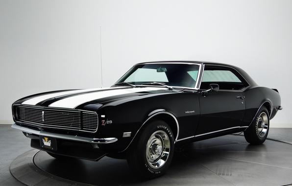 Картинка ретро, шевроле, мускул кар, camaro, chevrolet, muscle car, 1968, камаро, z28