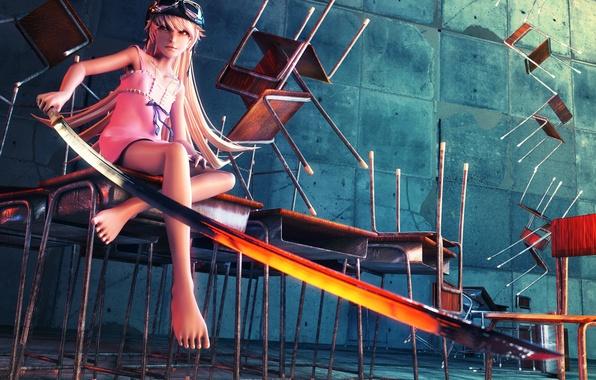 Картинка девушка, оружие, злость, стулья, меч, шлем, art, bakemonogatari, oshino shinobu, парты, tetsuok9999