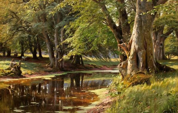 Картинка лес, животные, лето, трава, деревья, пейзаж, река, картина, олени, берега, Peder Mork Monsted