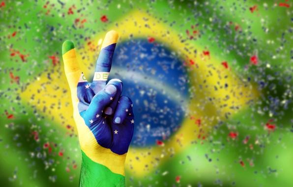 Картинка рука, конфетти, flag, brasil, vicrtory, флаг бразилии