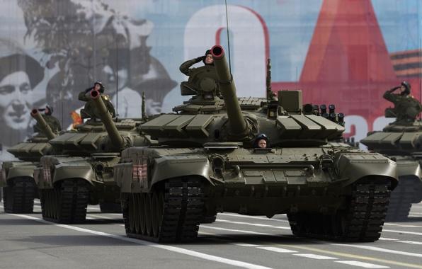 Картинка танк, боевой, красная площадь, бронетехника, Т-72