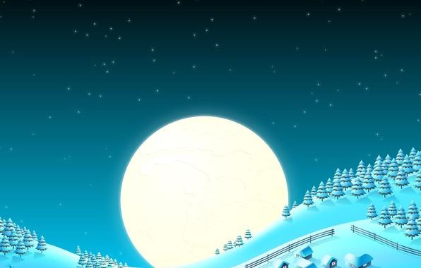 Картинка снег, луна, елки, новый год