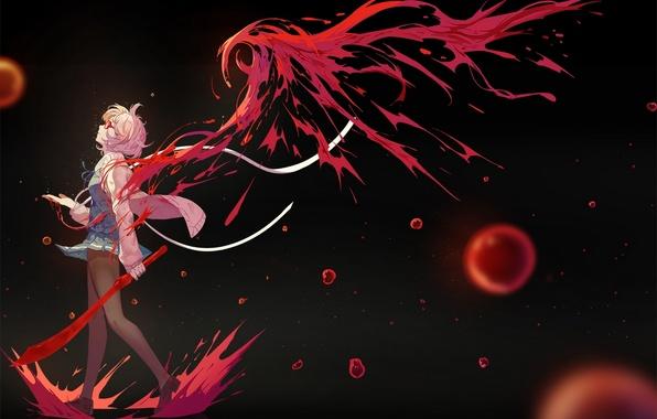Картинка девушка, оружие, кровь, крылья, меч, аниме, арт, очки, nanaya, kyoukai no kanata, kuriyama mirai, daaijianglin