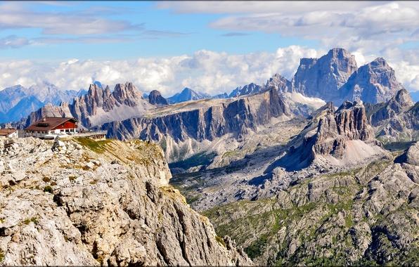 Картинка небо, облака, горы, дом, скалы, Италия, отель, Доломитовые Альпы, Parco Nazionale delle Dolomiti Bellunesi
