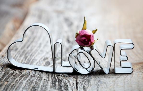 Картинка любовь, буквы, надпись, сердце, доски, роза, love, засушенная