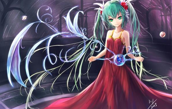 Картинка шары, завитки, платье, арт, девочка, сфера, vocaloid, hatsune miku, вокалоид