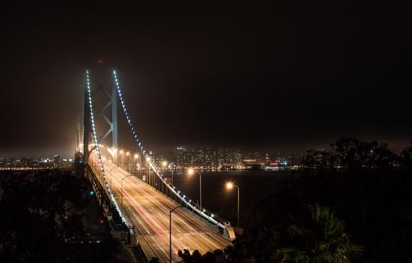 Картинка осень, небо, ночь, мост, lights, огни, темный, dark, Калифорния, залив, Сан-Франциско, light, USA, США, sky, …
