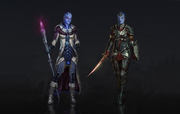 Картинка меч, доспехи, посох, плащ, воительница, волшебница, Mass Effect, фанарт, Liara, Samara