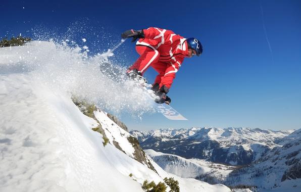 Картинка небо, снег, горы, прыжок, сноуборд, спорт