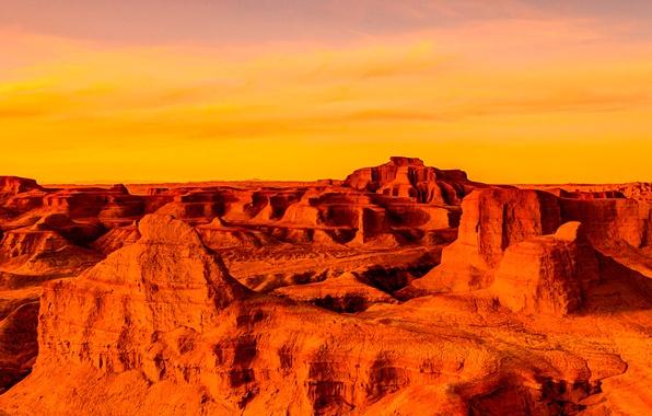Картинка небо, облака, закат, горы, каньон, панорама