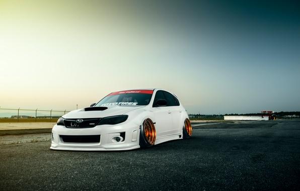Картинка Subaru, Impreza, WRX, Sky, STI, Front, White, Stance, Low