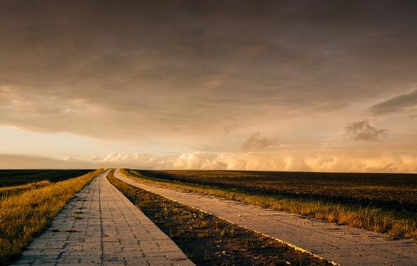 Картинка дорога, поле, облака, горизонт, ферма
