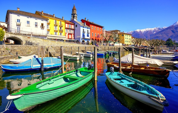 Картинка небо, солнце, пейзаж, горы, озеро, дома, лодки, Швейцария, набережная, причалы, Ascona, Ticino