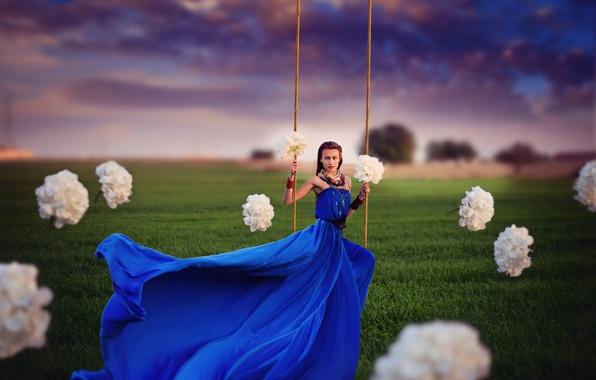 Картинка девушка, цветы, качели, платье