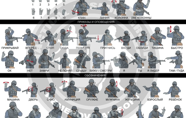 Картинка рука, знаки, цифры, команда, форма, каска, спецназ, приказы, тактический штурм отряд, жесты