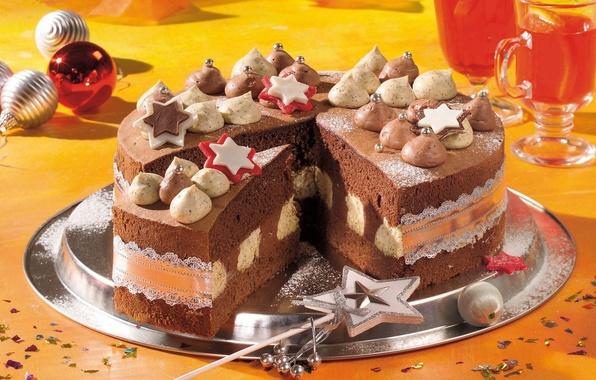 Картинка праздник, шары, звезда, новый год, еда, шоколад, бокалы, сладости, торт, крем, тортик, сладкое, звездочка, шоколадный