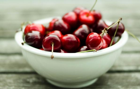 Картинка макро, ягоды, фото, фон, обои, тарелка, красная, сладкая, черешня, витамины, wallpapers, спелая