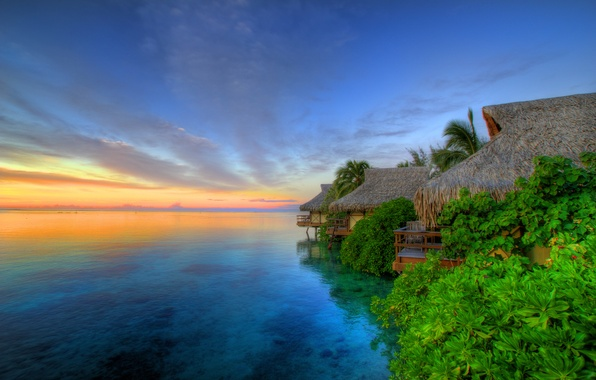Картинка Sunset, The island of Moorea, Tahiti