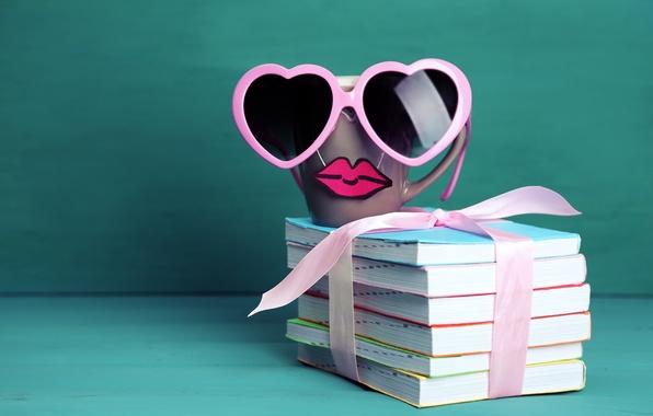 Картинка книги, кофе, очки, кружка, cup, lips, funny, glasses, cute, books, mustache