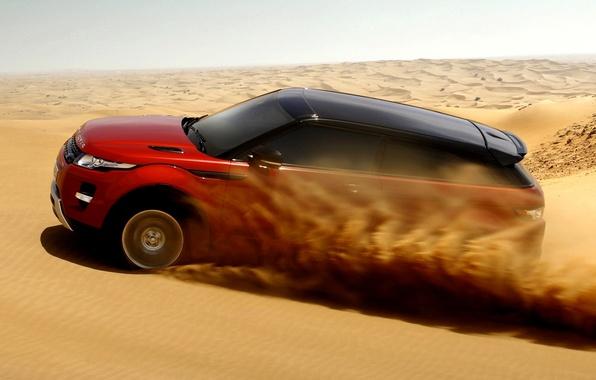 Картинка песок, небо, красный, пустыня, купе, Land Rover, Range Rover, Coupe, Evoque, кроссовер, Ленд Ровер, Эвок, …