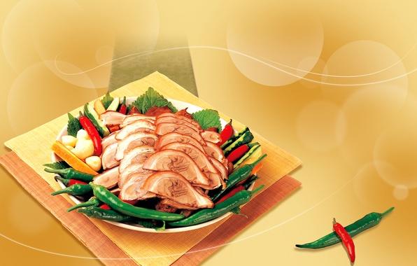 Картинка зелень, мясо, Перец, картофель