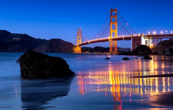 Картинка вода, мост, город, пролив, отражение, камни, вечер, освещение, Калифорния, Сан-Франциско, Золотые Ворота, USA, США, Golden …