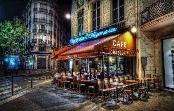 Картинка Париж, вечер, кафе, Paris, франция, France, столица