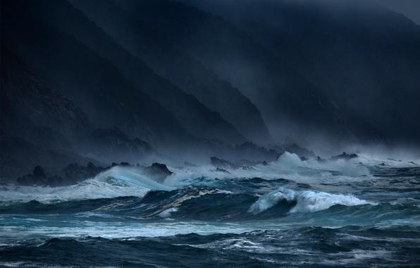Картинка море, волны, шторм, скалы, вечер, dark, waves, storm, сумерки, twilight, sky, sea, ocean, coast, blue, …