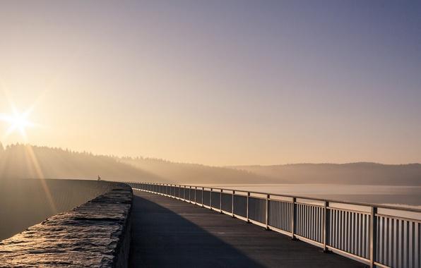 Картинка свет, пейзаж, мост, утро