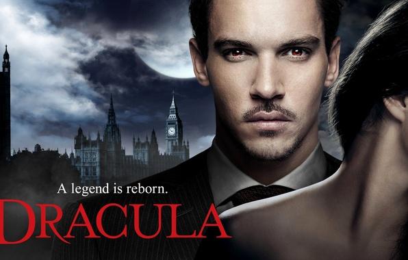 Картинка девушка, Англия, Лондон, брюнетка, актер, мужчина, сериал, Dracula, Дракула, Jonathan Rhys Meyers, Джонатан Риз Майерс