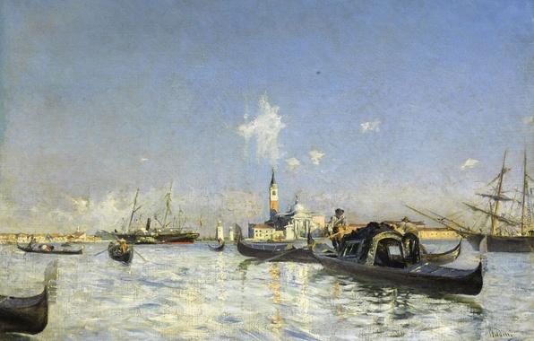 Картинка лодка, корабль, картина, гондола, морской пейзаж, колокольня, Джованни Больдини, Остров Сан-Джорджо в Венеции