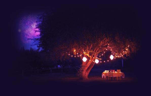 Картинка лето, ночь, стол, дерево, фонари, фейерверк, салюты
