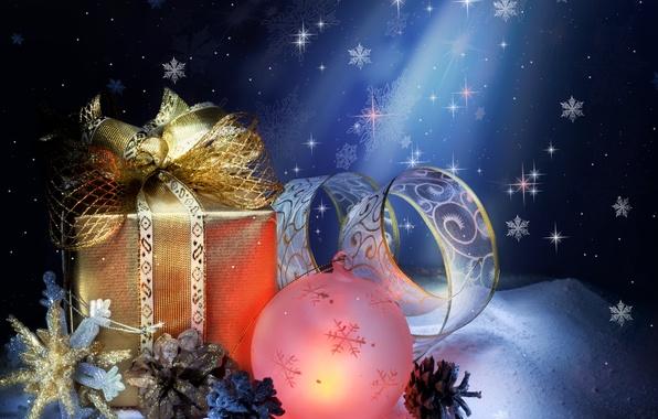 Картинка снег, подарок, игрушка, шишки