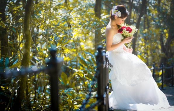 Картинка девушка, цветы, улица, азиатка, невеста