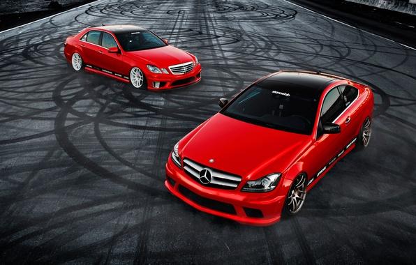 Картинка car, тюнинг, купе, mercedes, седан, мерседес, tuning, автообои, C350, E350