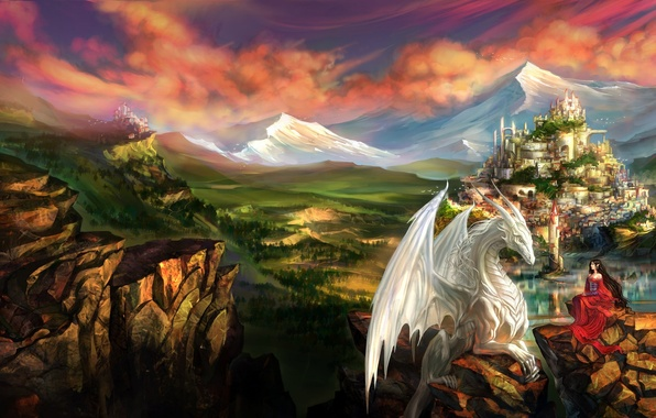 Фото обои горы, арт, город, замок, дракон, фэнтези, девушка, эльфийка, скалы, эльф, пейзаж