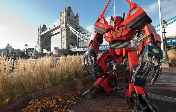 Картинка мост, трансформеры, фантастика, робот, лондон, темза