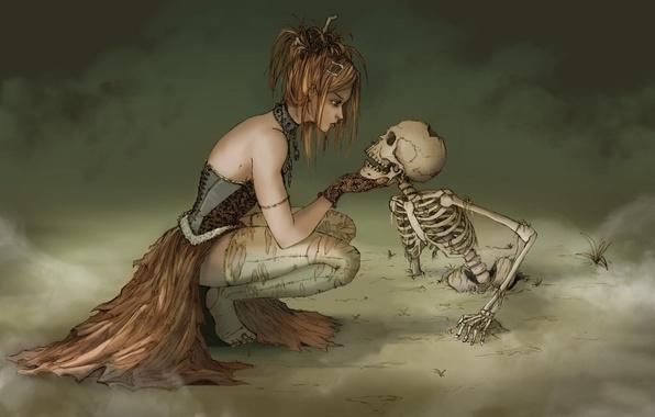 Картинка туман, скелет, ведьма, witch
