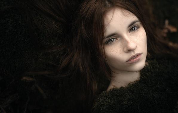 Картинка волосы, портрет, веснушки, боке, beauty in moss