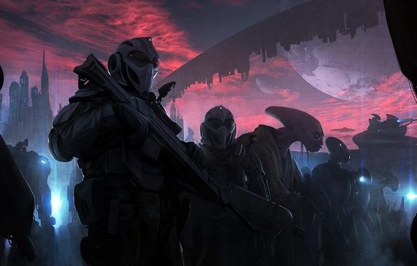 Картинка небо, облака, закат, city, город, оружие, фантастика, планета, корабли, aliens, десант, sci-fi, инопланетяне, planets, CG …