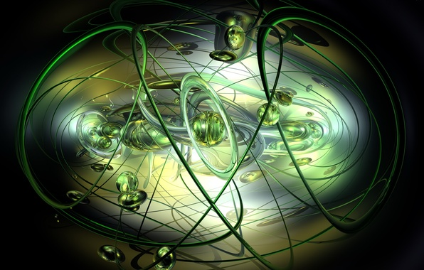 Картинка линии, шары, зеленые, черный фон