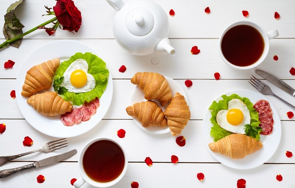Картинка кофе, завтрак, сердечки, love, rose, heart, cup, romantic, coffee, croissant, breakfast, круассан