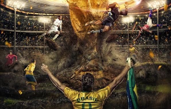 Картинка sport, gold, stadium, people, Nike, football, men, crowd, flags, England, asian, Fifa, Brazil, Soccer, fans, …