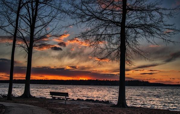 Картинка пейзаж, закат, озеро, скамья
