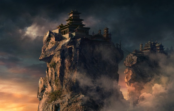 Картинка облака, мост, скалы, азия, высота, дома, арт, храм, feng liu, pursue, канатный