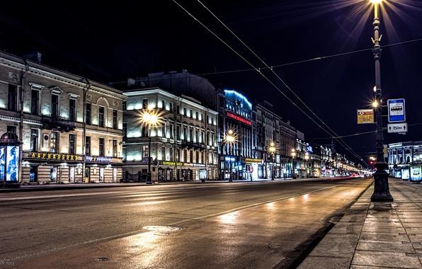 Картинка дорога, ночь, огни, фонари, Russia, питер, санкт-петербург, St. Petersburg, Невский проспект